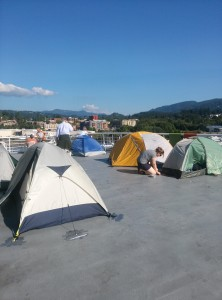 Tents on the stern of the Columbia