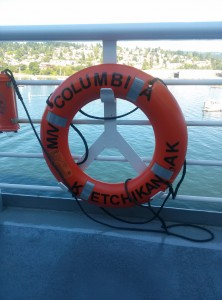 Columbia ferry lifebouy with Bellingham in the distance